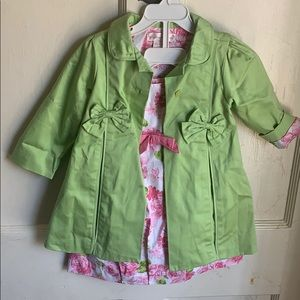 Ring Around the Rosie 24m set dress and coat green